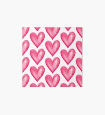 Hand Painted Pink Watercolor Love Heart Art Board