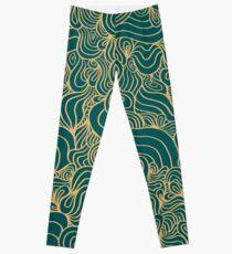 ACID PEACOCK Gilded Emerald: Teal-Green/Gold Line Design Leggings Leggings