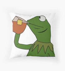 Kermit Sipping Tea Meme King but That's None of my Business Throw Pillow