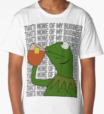 Kermit Sipping Tea Meme King but That's None of My Business 2 Long T-Shirt
