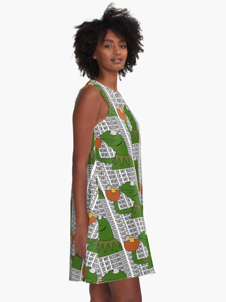 Alternate view of Kermit Sipping Tea Meme King but That's None of My Business 2 A-Line Dress