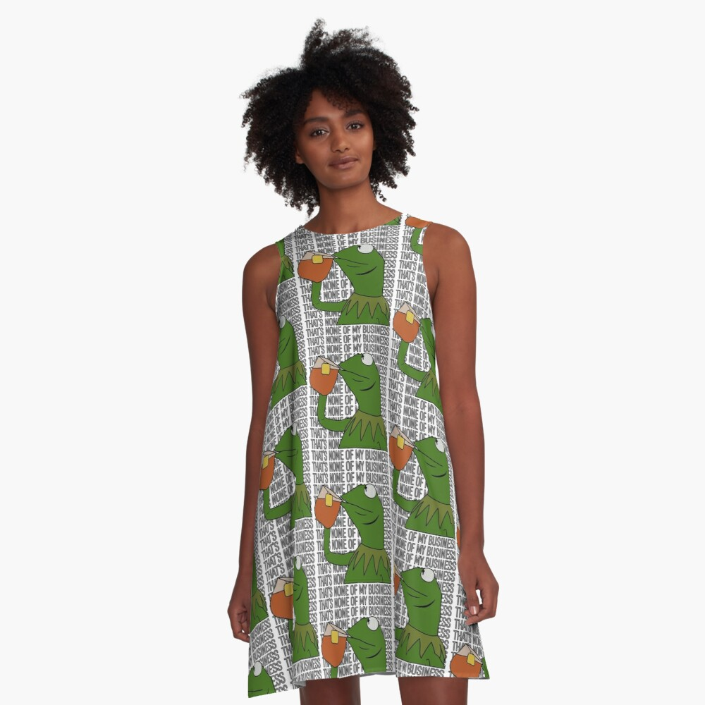 Kermit Sipping Tea Meme King but That's None of My Business 2 A-Line Dress