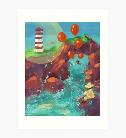 Balloon LIft Off 4, The Lighthouse Art Print