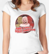 HOLLY DOLLY CHRISTMAS Women's Fitted Scoop T-Shirt