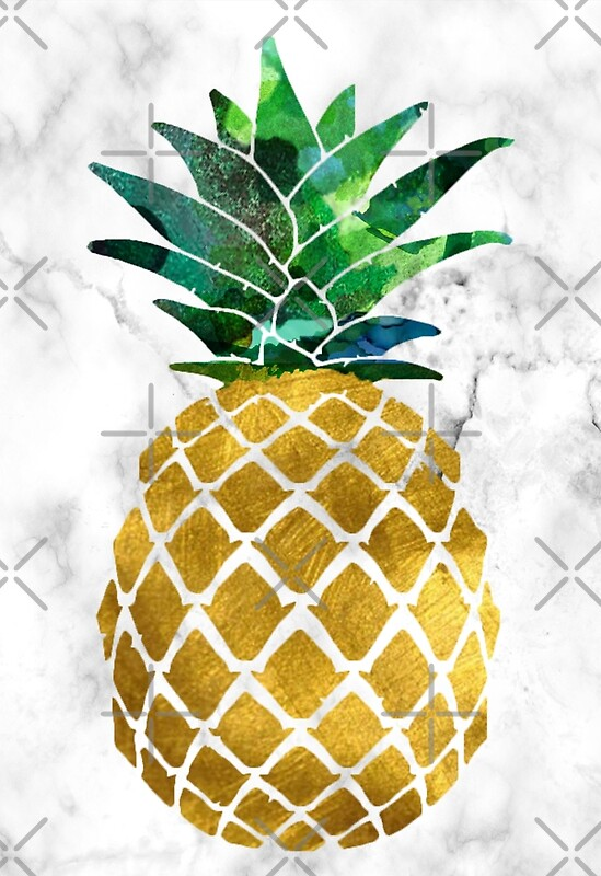 Quot Gold Leaf Pineapple On Marble Background Quot Posters By