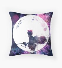 Little Witch Flying Over Moon Throw Pillow