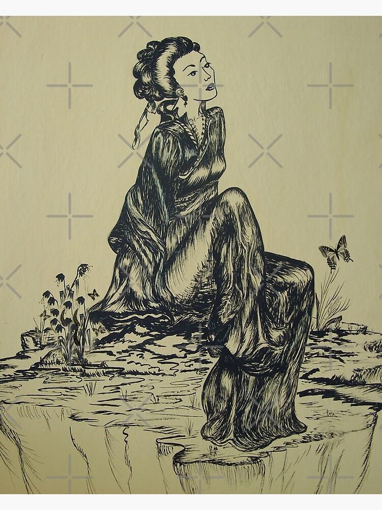 Japanese Woman Geisha Drawing Pen And Ink Canvas Print