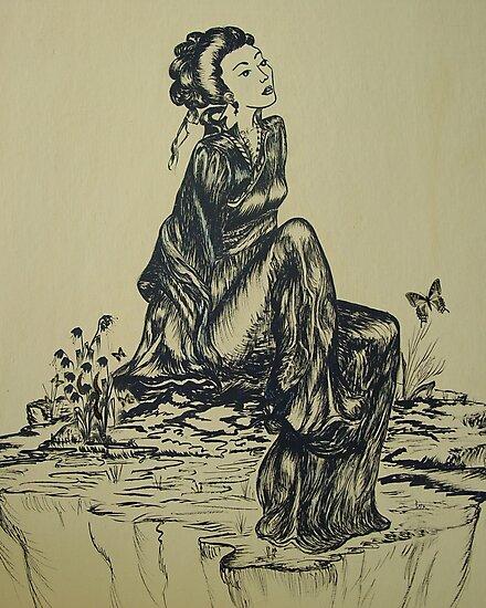 Láminas Fotográficas Pluma Y Tinta De Geisha Japonesa Dibujo A