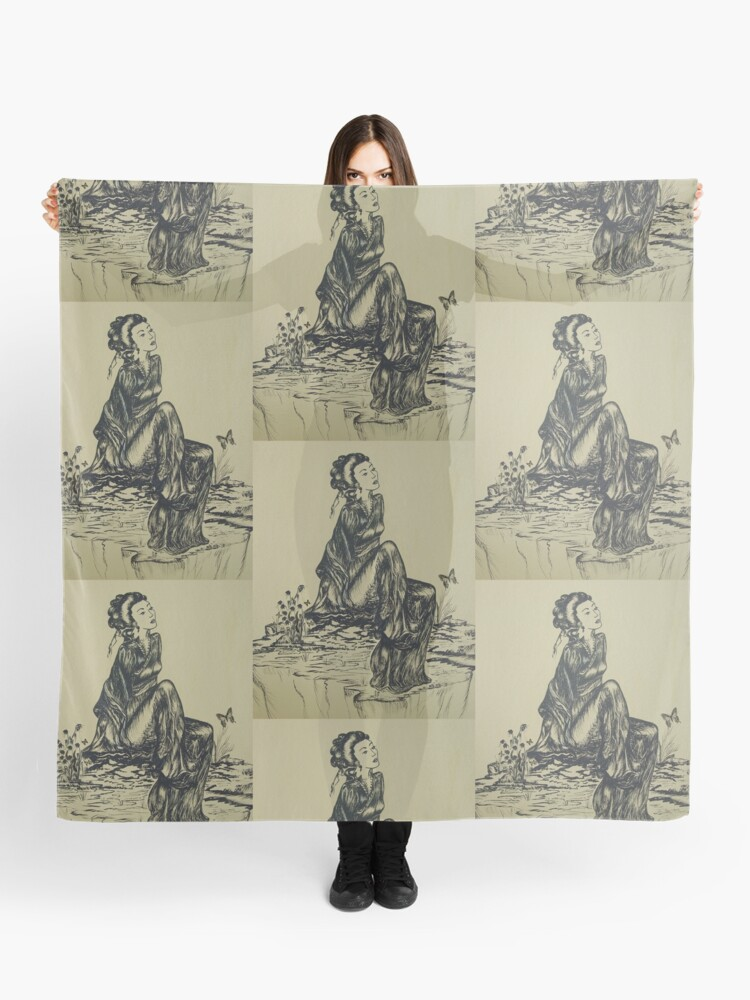 Japanese Woman Geisha Drawing Pen And Ink Scarf