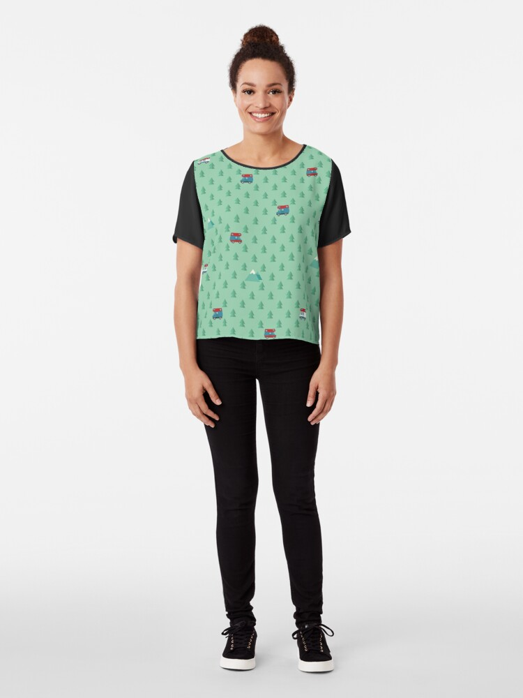 Alternate view of Animal Crossing pocket camp trees campers Chiffon Top