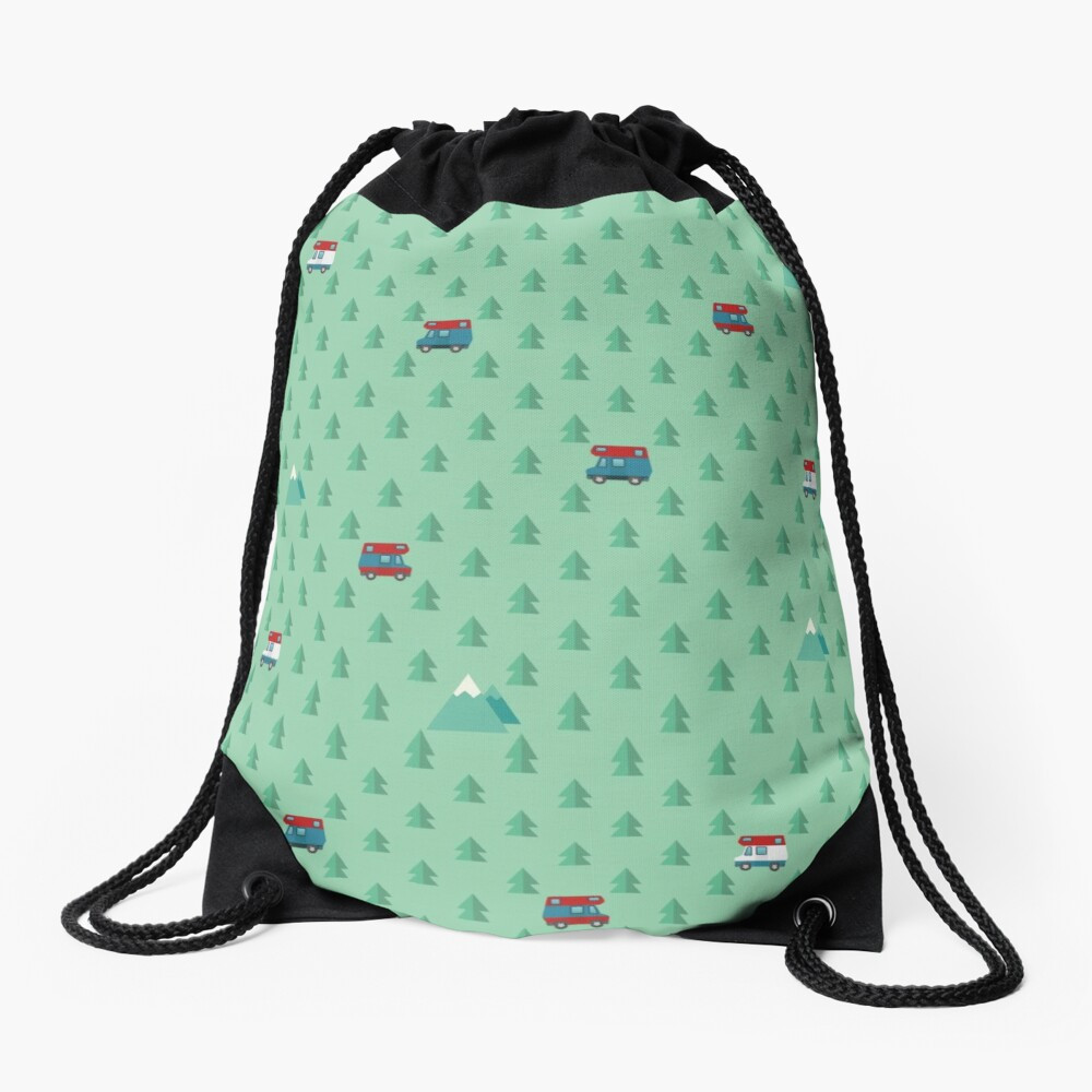 Animal Crossing pocket camp trees campers Drawstring Bag