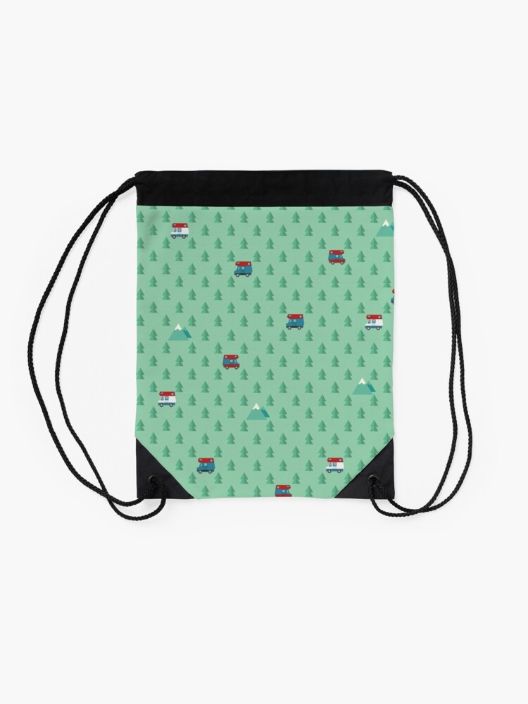 Alternate view of Animal Crossing pocket camp trees campers Drawstring Bag
