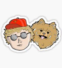 Cartoon Pomeranian + Human Sticker