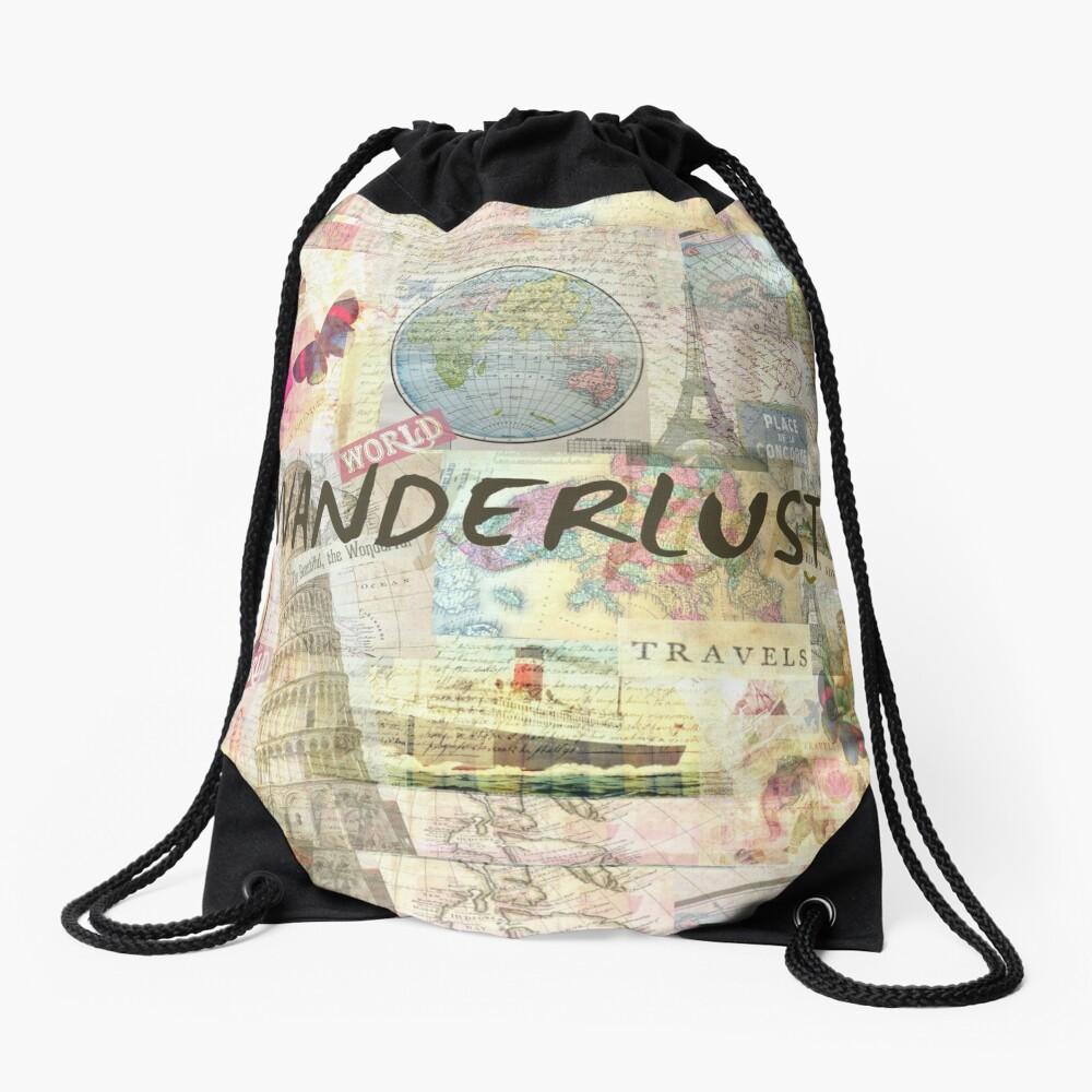 Wanderlust travel art quote Drawstring Bag
