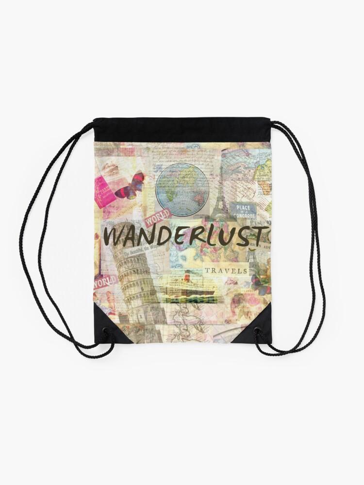 Alternate view of Wanderlust travel art quote Drawstring Bag