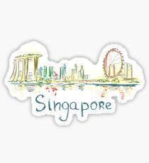 Singapore Panorama at night Sticker