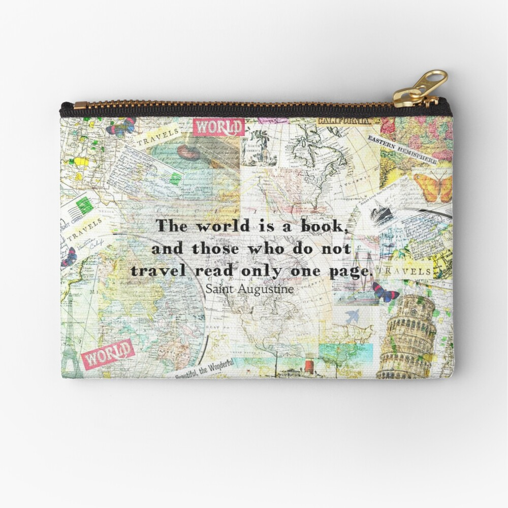 The world is a book TRAVEL QUOTE Zipper Pouch