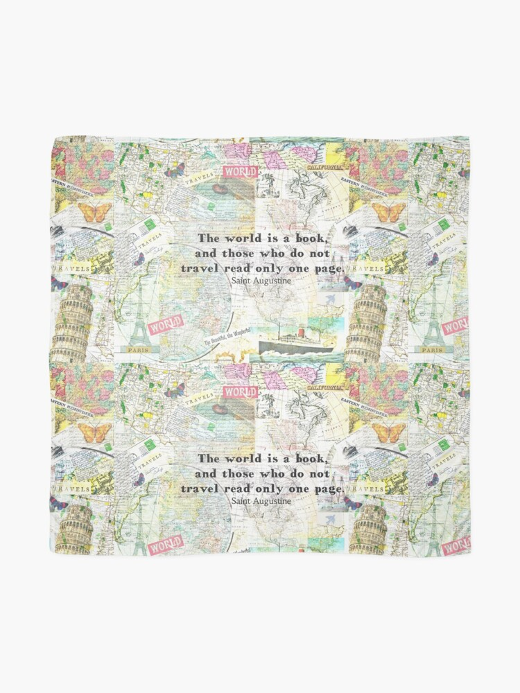 Alternate view of The world is a book TRAVEL QUOTE Scarf