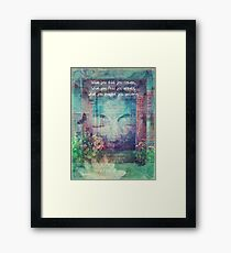 Inspiring Buddha quote about positive thinking Framed Print