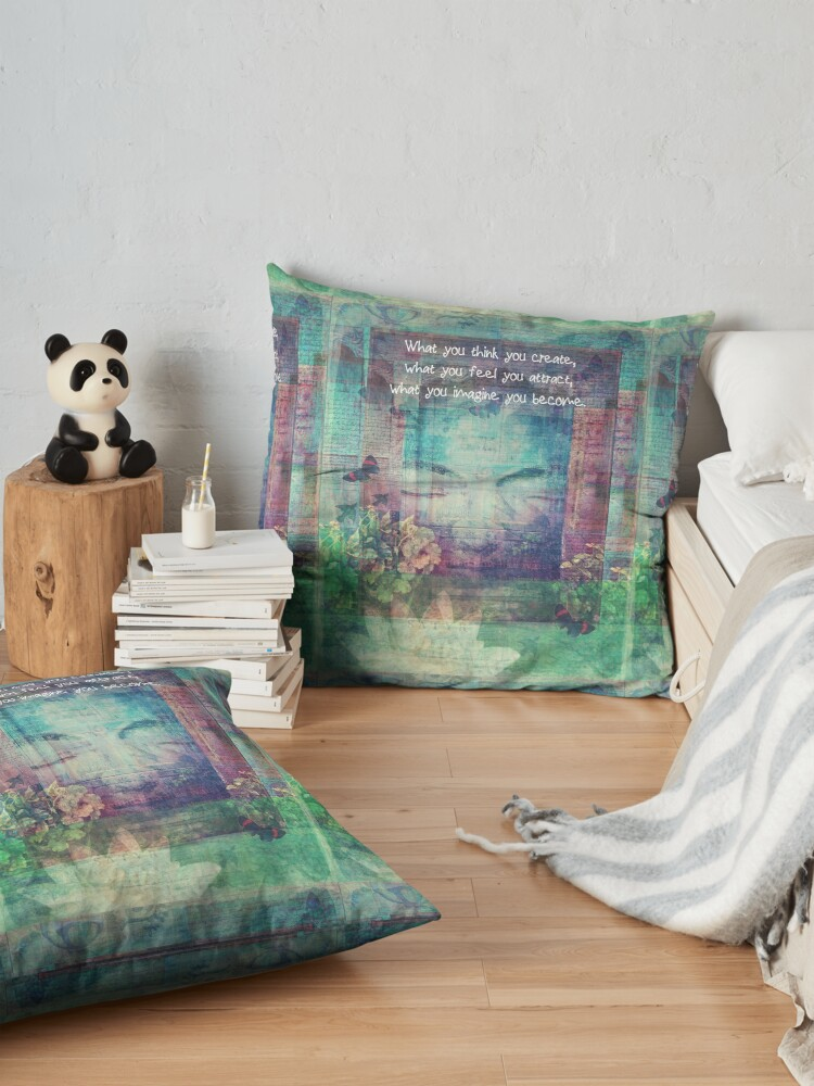 Alternate view of Inspiring Buddha quote about positive thinking Floor Pillow