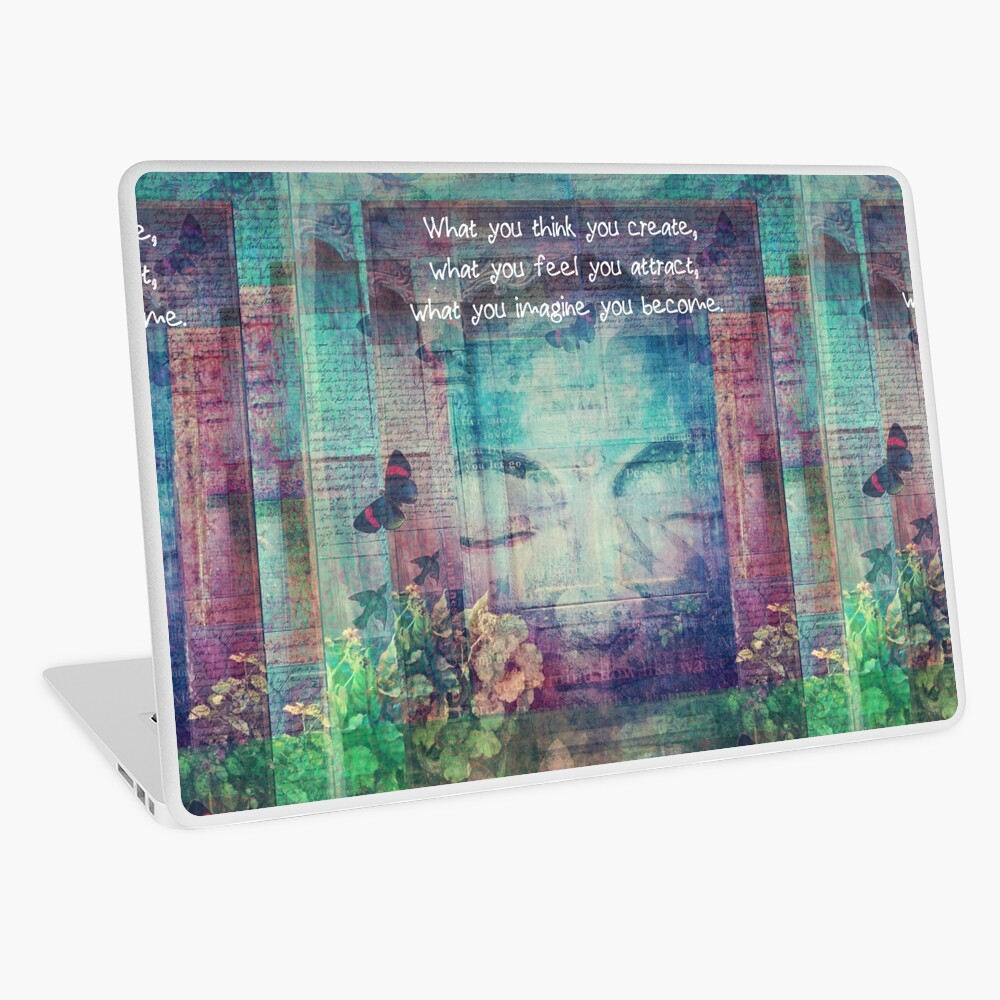 Inspiring Buddha quote about positive thinking Laptop Skin