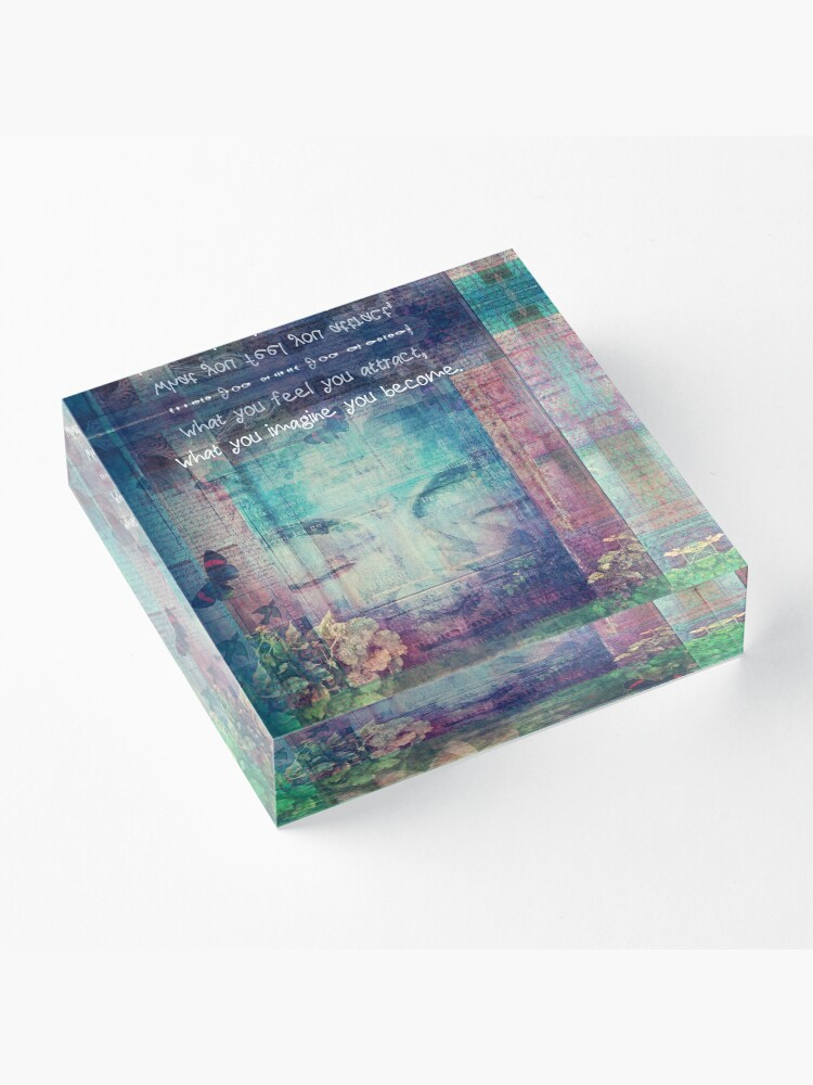 Alternate view of Inspiring Buddha quote about positive thinking Acrylic Block
