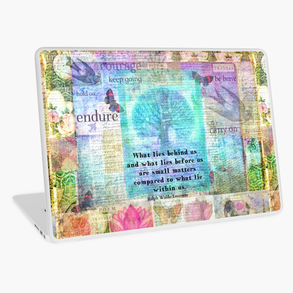 Tree and Nature Art Collage with Emerson Inspirational Quote Laptop Skin