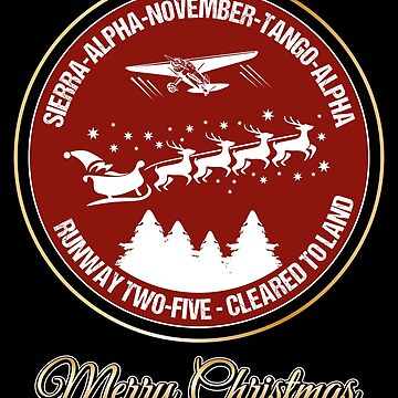 Pilot Christmas Gift Aviation Air Traffic Controller Holiday Santa Airlines Retro Design T-Shirt  by stearman
