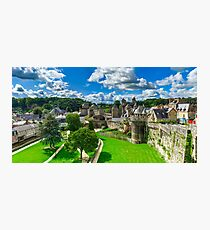 High resolution panoramic view of Fougeres castle in Bretagne, France Photographic Print