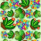 Cactus Succulents and Flowers Colorful Doodles  by BluedarkArt