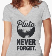 Pluto Never Forget Women's Fitted V-Neck T-Shirt