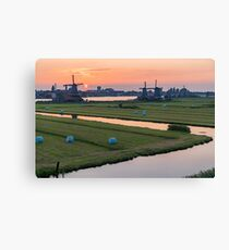Mills in Zaanse Schans near Amsterdam, Netherlands at sunset Canvas Print