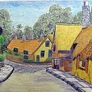 233 - THATCHED COTTAGES AT SHANKLIN, I.O.W. - DAVE EDWARDS - COLOURED PENCILS - 2008 by BLYTHART