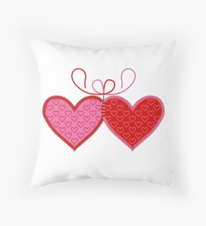 Cross-linked Hearts Throw Pillow
