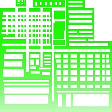 8-Bit City- Green Version by sketchbooksage