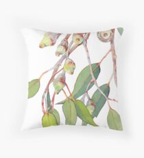 Australian native eucalyptus tree branch Throw Pillow
