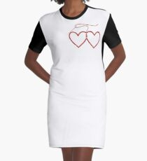 Stitched Hearts Graphic T-Shirt Dress