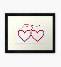 Stitched Hearts Framed Print