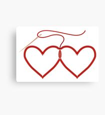 Stitched Hearts Canvas Print