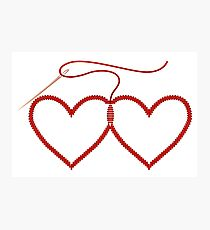 Stitched Hearts Photographic Print