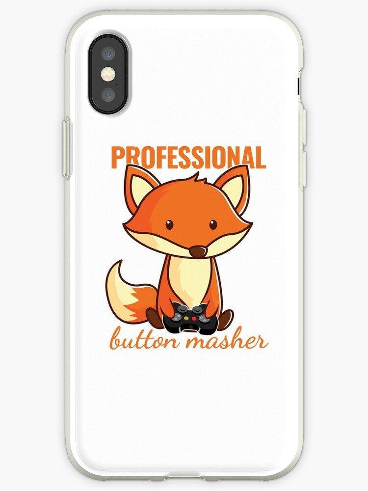 'Cute Cartoon Baby Fox Professional Button Masher Gamer Merch' iPhone Case  by Dmurr
