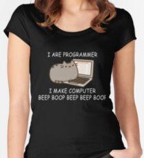 I are programmer I make computer beep boop beep beep boop coder black shirt mug Women's Fitted Scoop T-Shirt