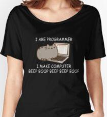 I are programmer I make computer beep boop beep beep boop coder black shirt mug Women's Relaxed Fit T-Shirt