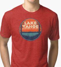 Lake Tahoe California Nevada Vintage State Travel Decal Tri-blend T-Shirt