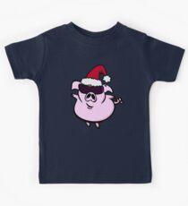Funny Cartoon Pig Santa VRS2 Kids Tee