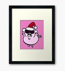 Funny Cartoon Pig Santa VRS2 Framed Print