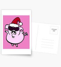 Funny Cartoon Pig Santa VRS2 Postcards