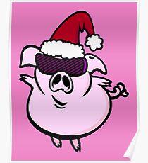 Funny Cartoon Pig Santa VRS2 Poster