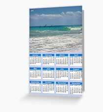 Pelicans over the ocean Poster Calendar 2018 Greeting Card