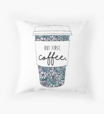 Floral Coffee Throw Pillow